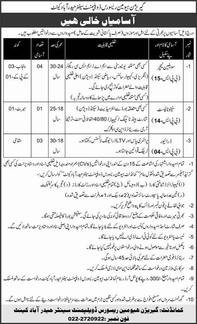 Garrison Human Resource Development Centre Hyderabad Cantt Jobs January 2021