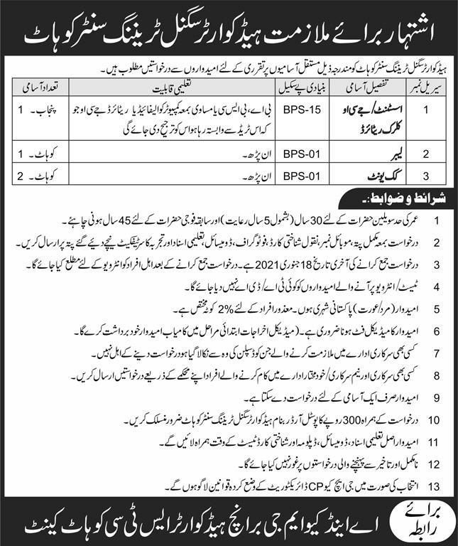 Headquarter Signal Training Centre Kohat Cantt Jobs January 2021