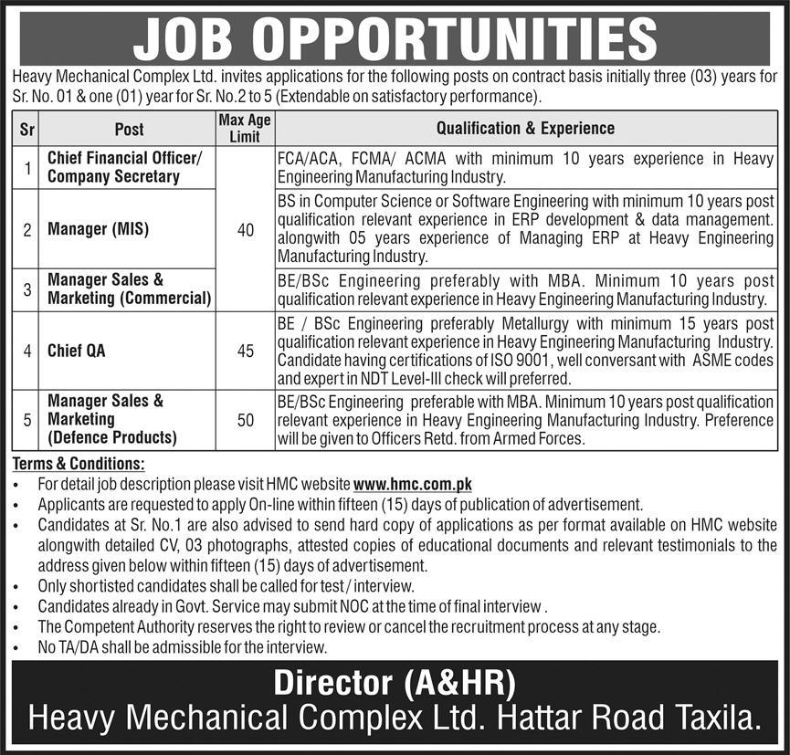 Heavy Mechanical Complex Pvt Ltd Taxila Jobs January 2021