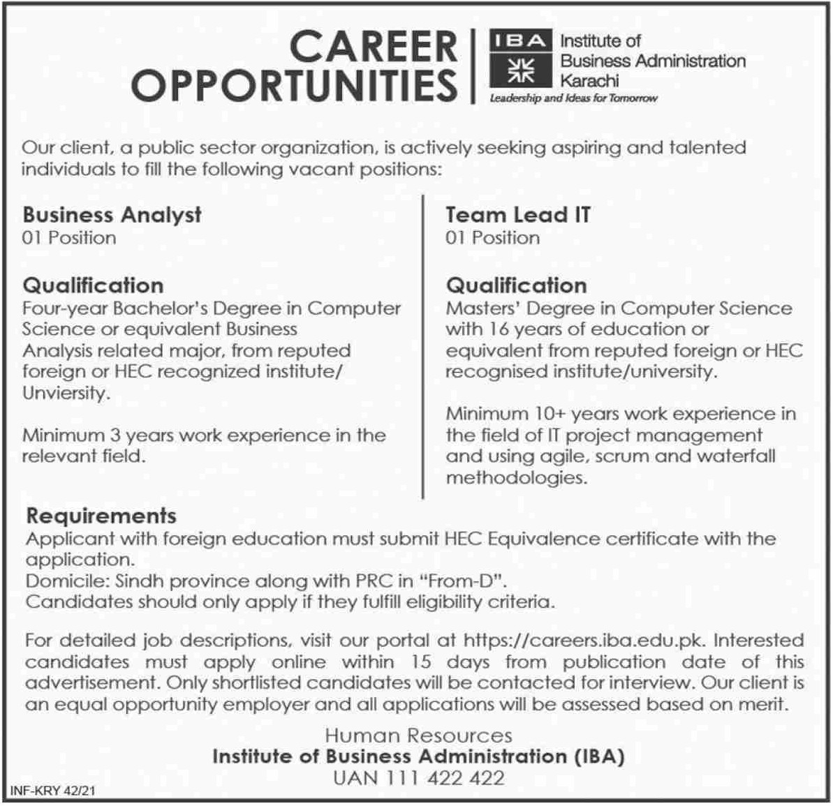 Institute of Business Administration IBA Karachi Jobs January 2021
