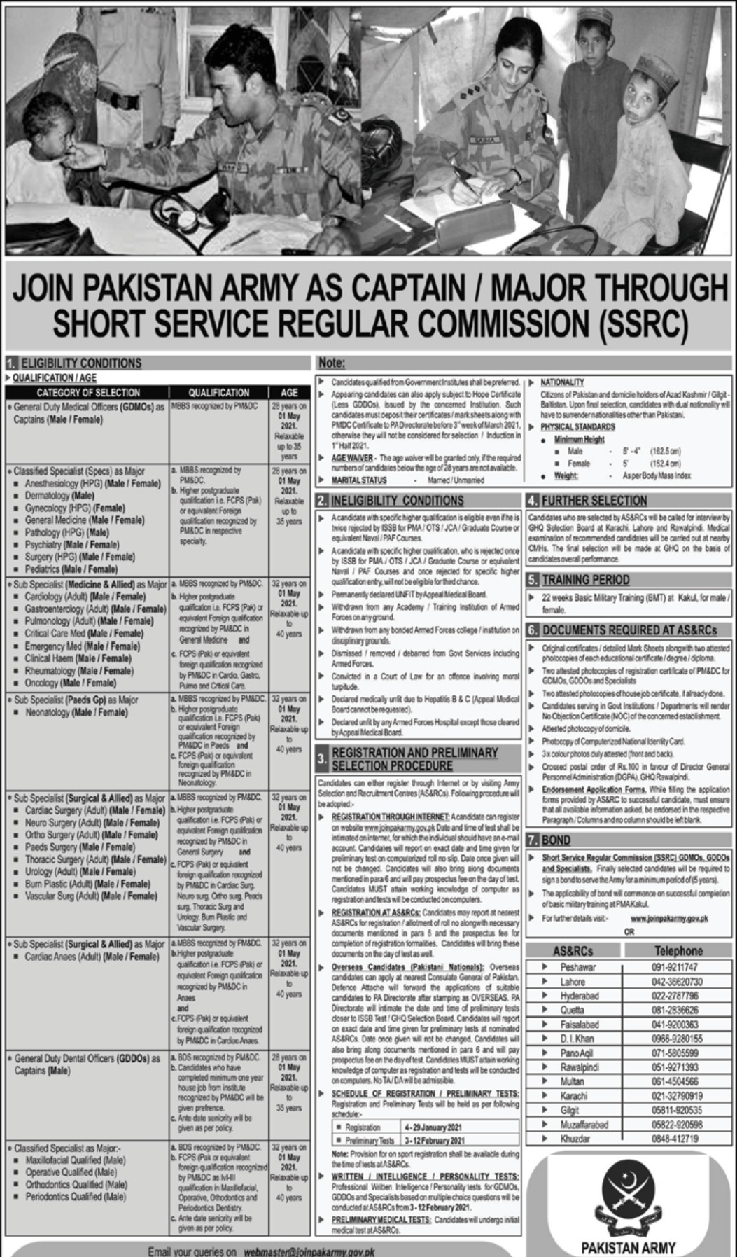 Join Pakistan Army as Captain January 2021