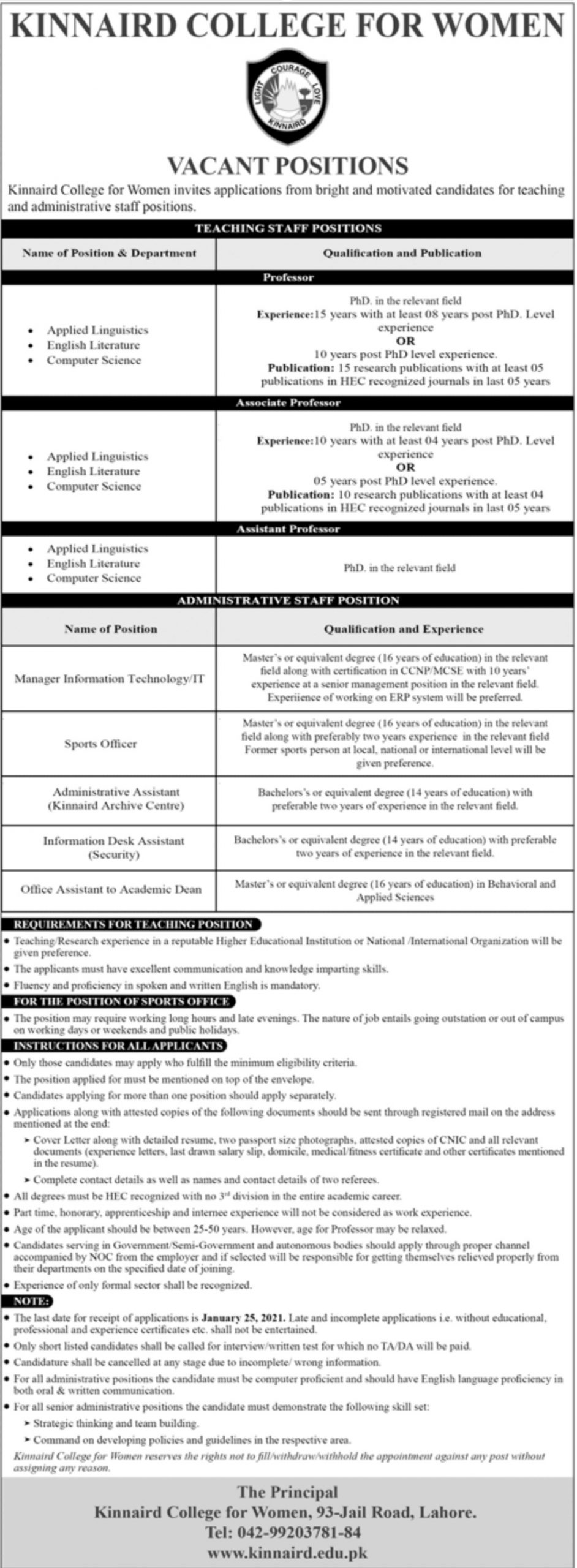 Kinnaird College for Women Jobs January 2021