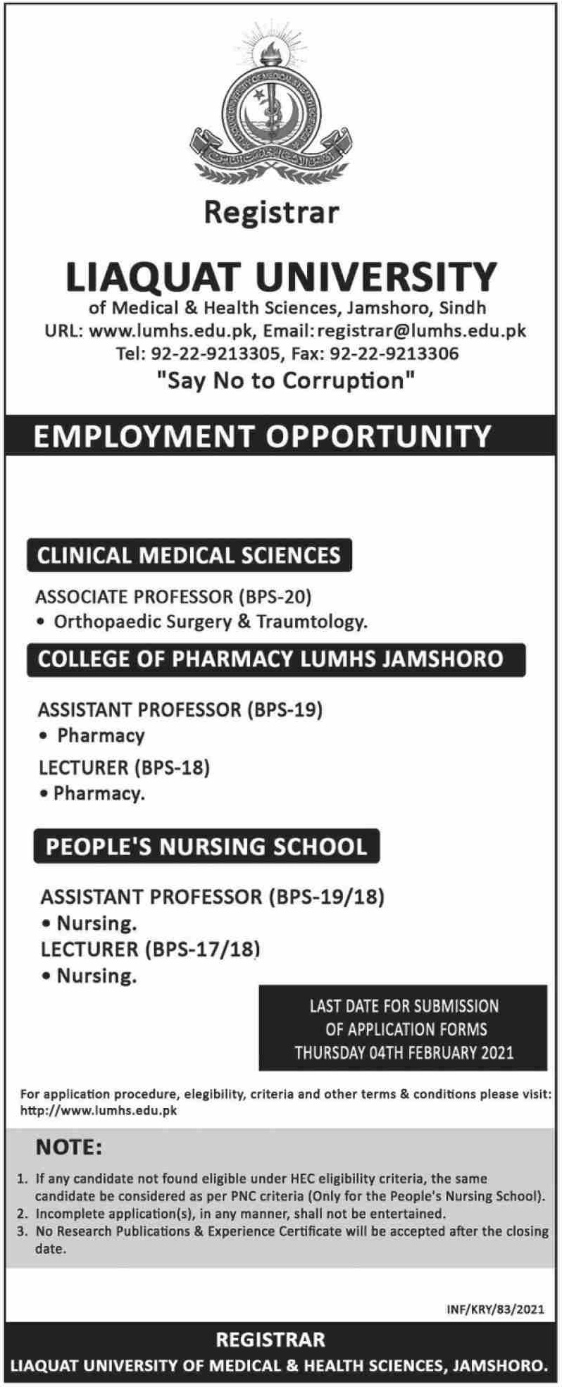 Liaquat University of Medical & Health Sciences Jamshoro Jobs January 2021