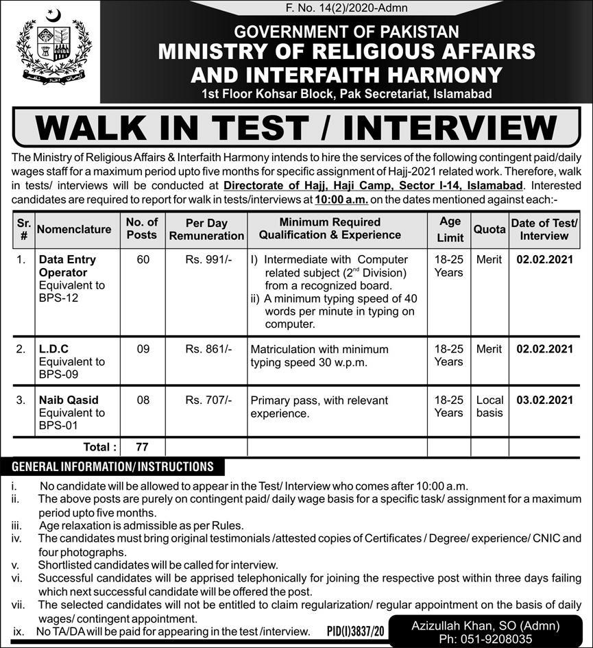 Ministry of Religious Affairs & Interfaith Harmony Jobs 2021