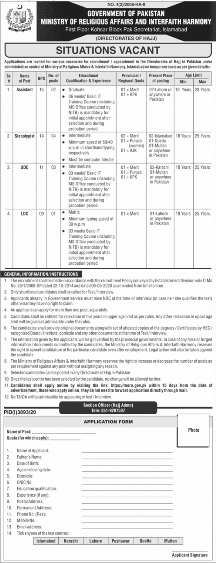 Ministry of Religious Affairs & Interfaith Harmony Jobs January 2021