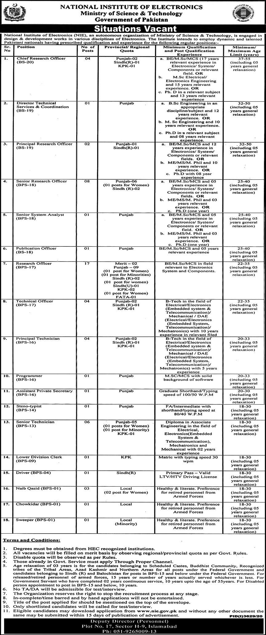 National Institute of Electronics Pakistan Jobs January 2021