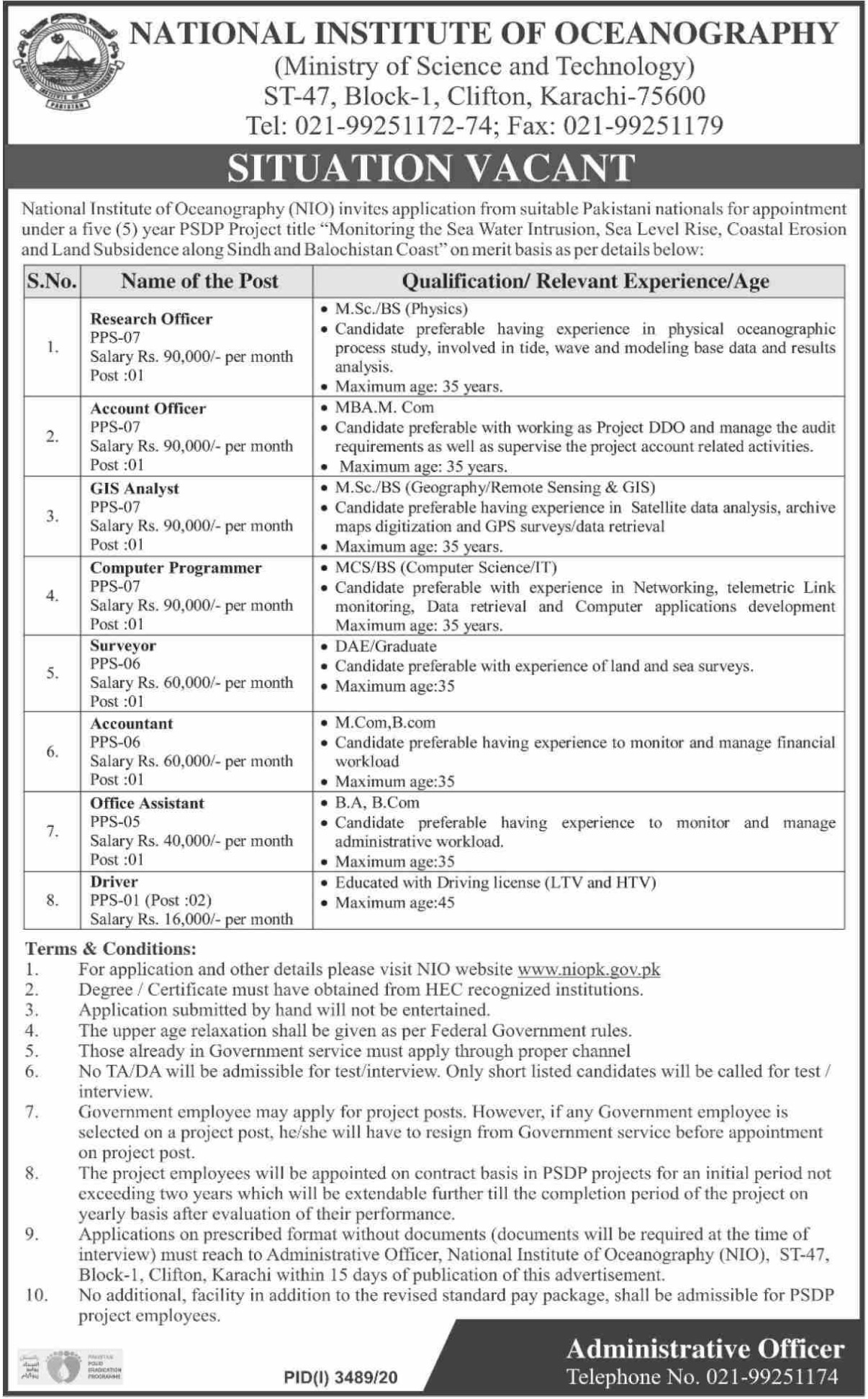 National Institute of Oceanography NIO Jobs January 2021