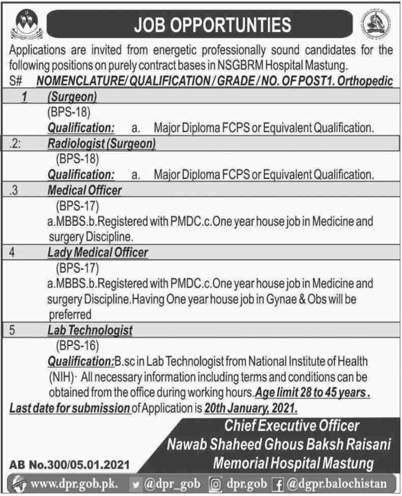 Nawab Shaheed Ghous Baksh Raisani Memorial Hospital Mastung Jobs January 2021