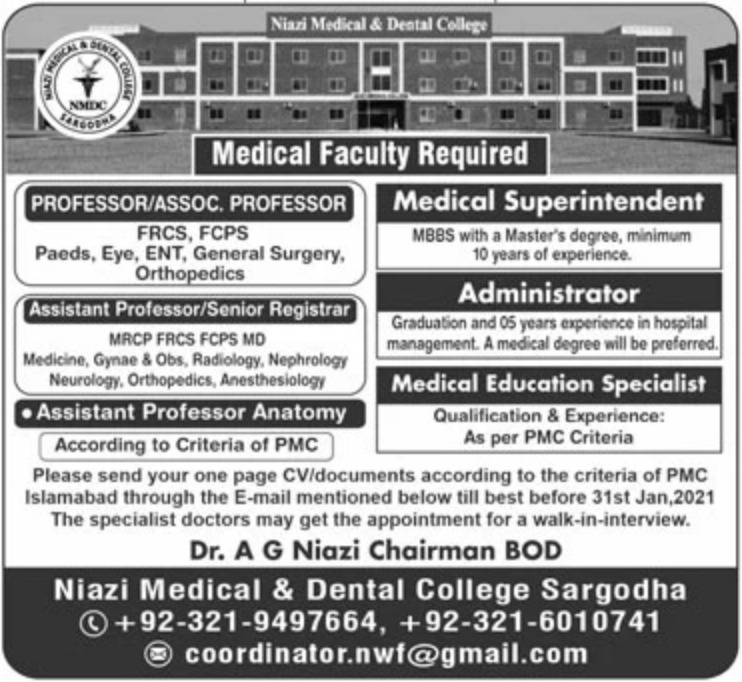 Niazi Medical & Dental College Sargodha Jobs January 2021