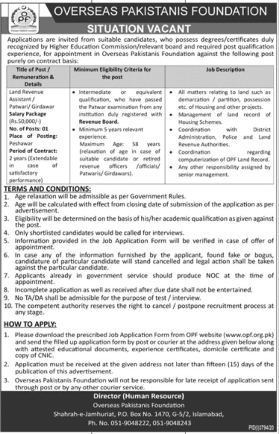 Overseas Pakistanis Foundation OPF Jobs January 2021