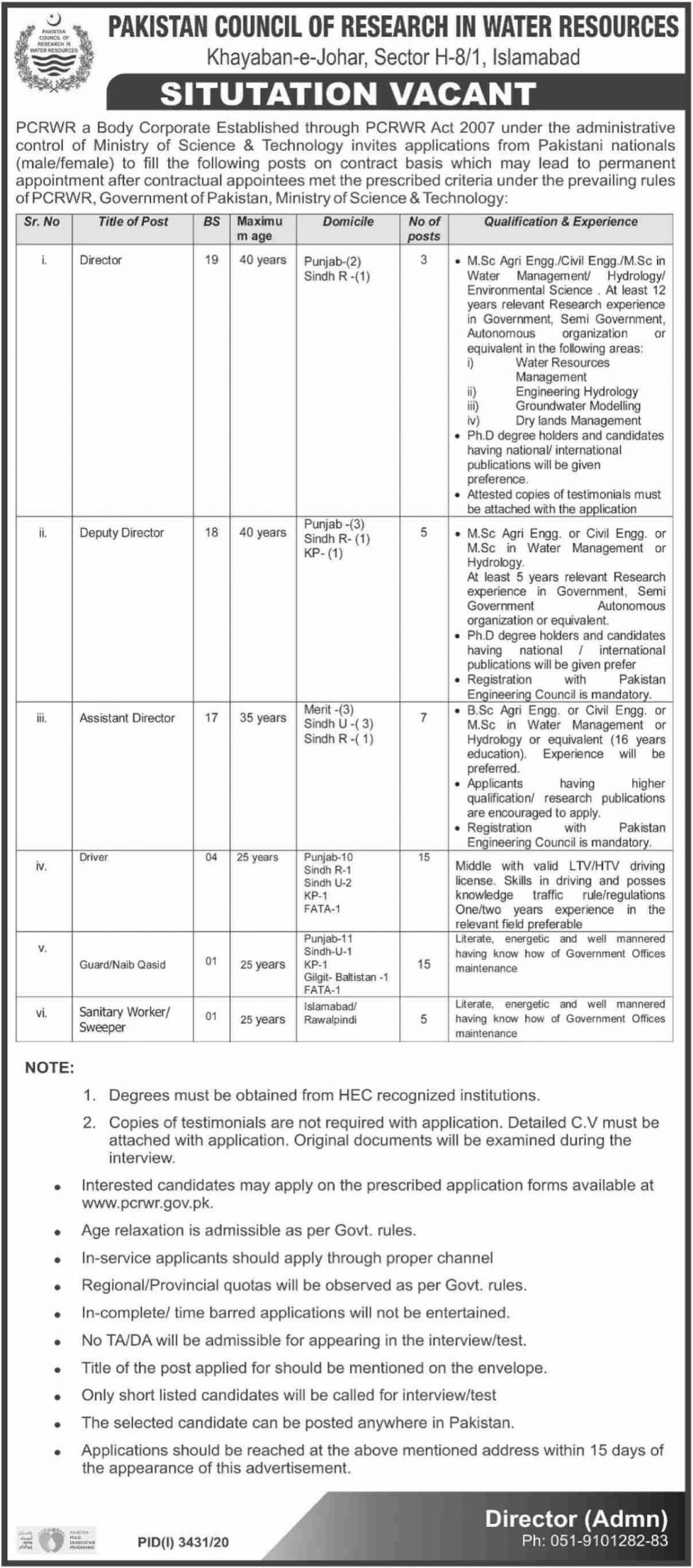 Pakistan Council of Research in Water Resources PCRWR Jobs January 2021