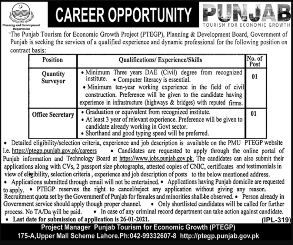 Planning & Development Board Punjab PTEGP Jobs January 2021