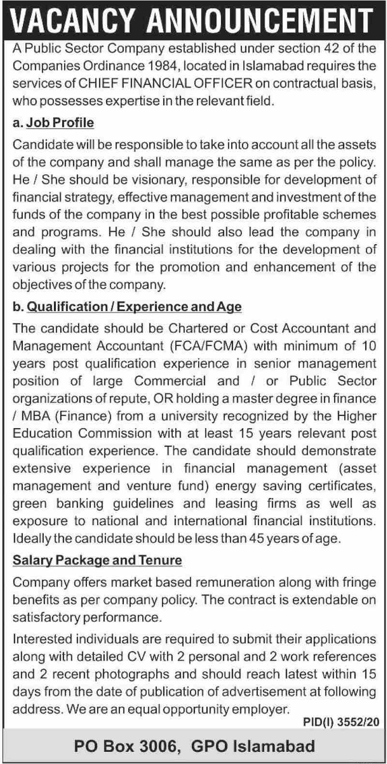 Public Sector Company P.O.Box 3006 Islamabad Jobs January 2021