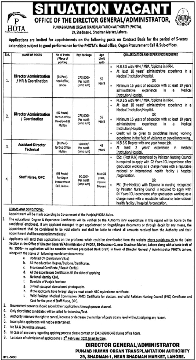 Punjab Human Organ Transplantation Authority PHOTA Jobs January 2021