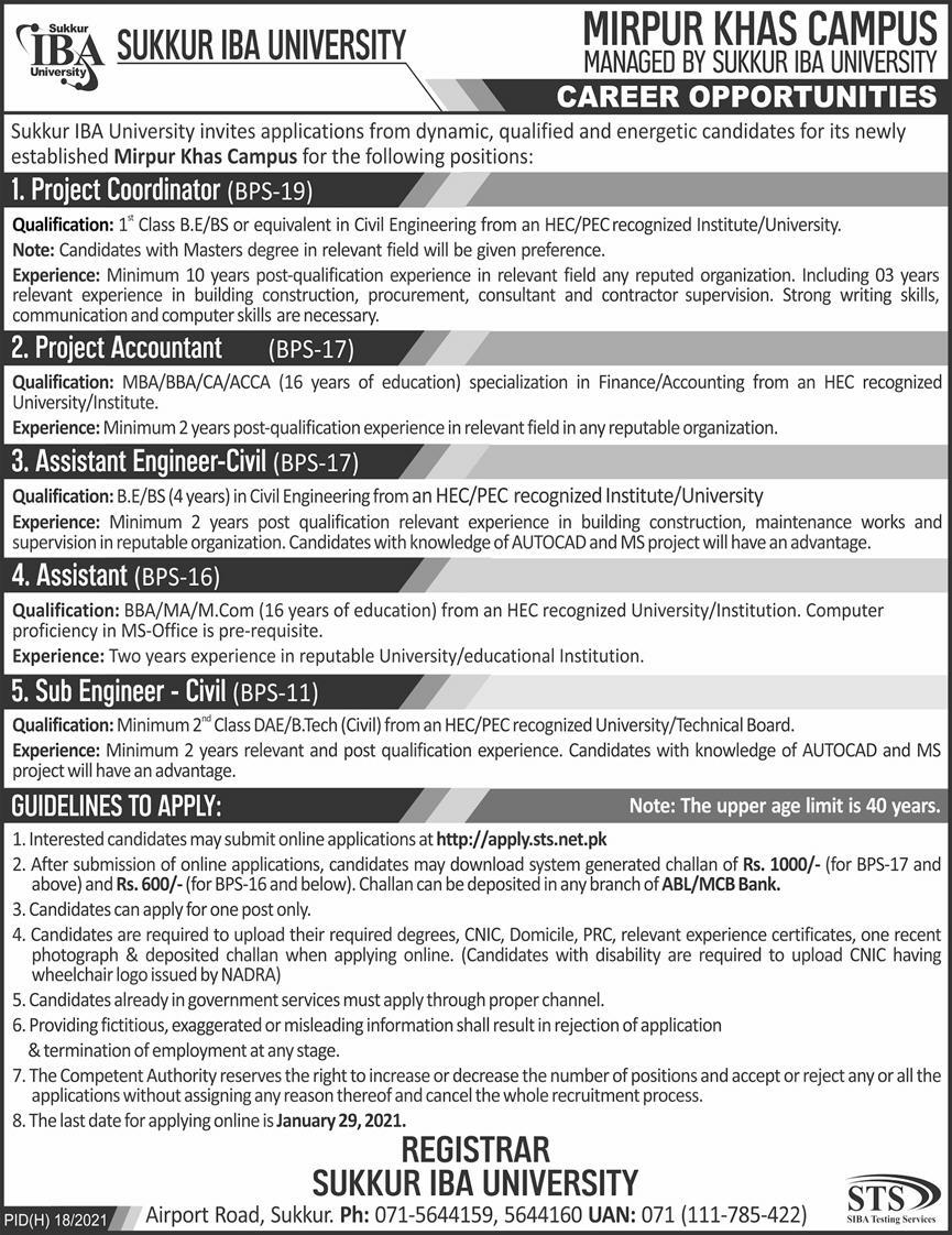 Sukkur IBA University Jobs January 2021 Mirpur Khas Campus