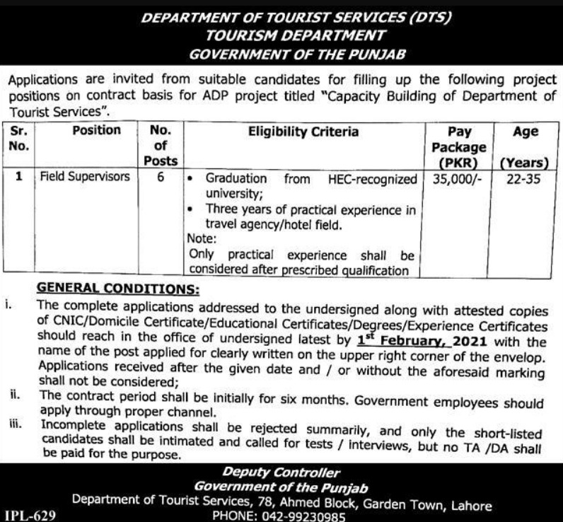 Tourism Department Government of Punjab Jobs January 2021
