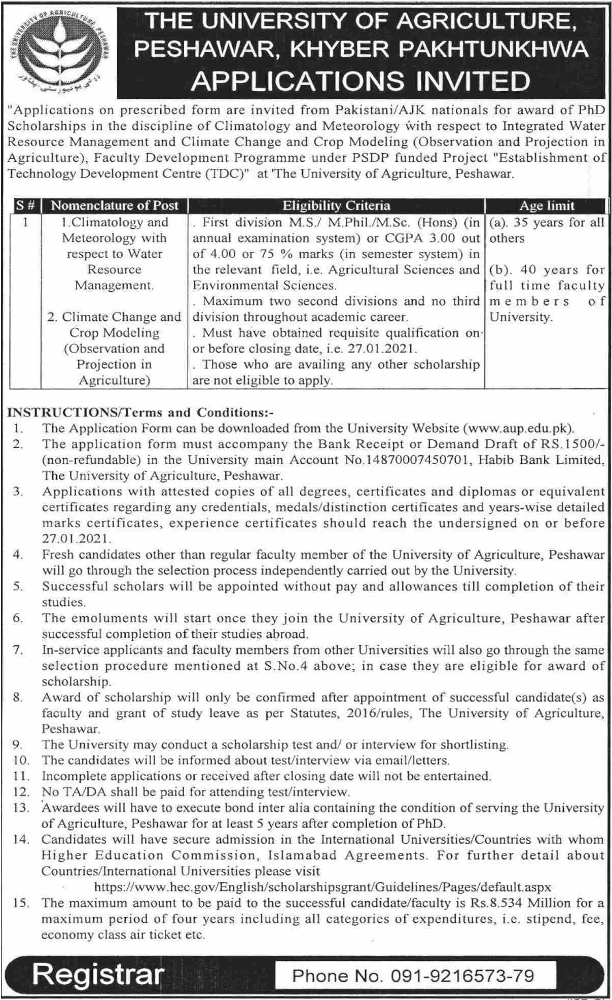 University of Agriculture Peshawar Jobs January 2021 KPK