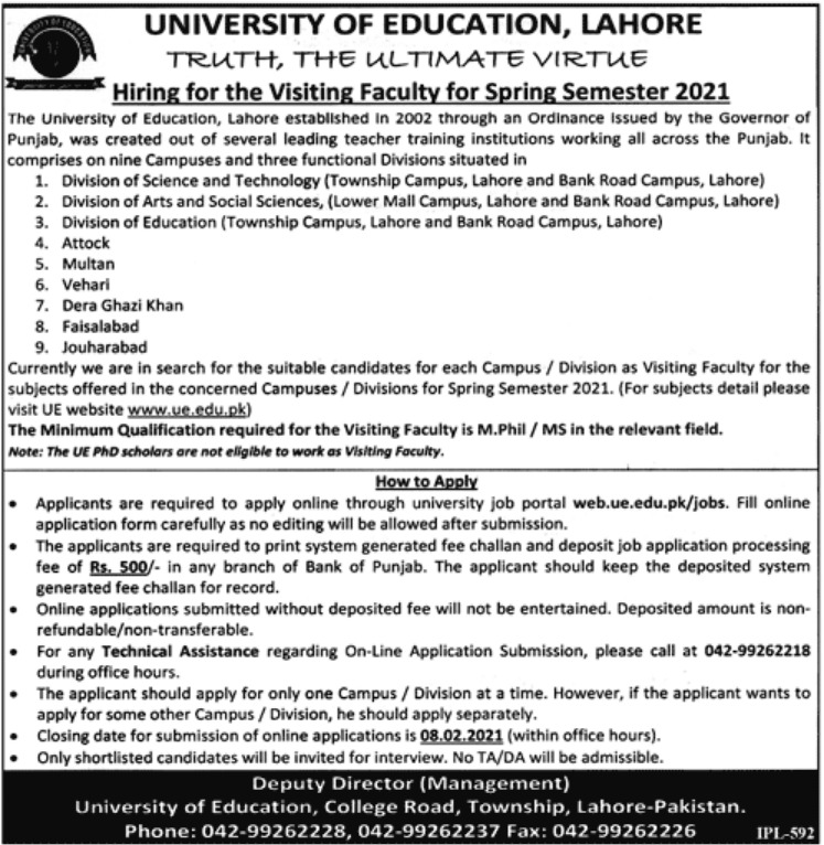 University of Education Lahore Jobs January 2021