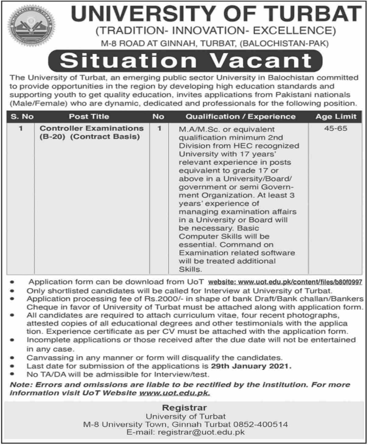 University of Turbat Balochistan Jobs January 2021