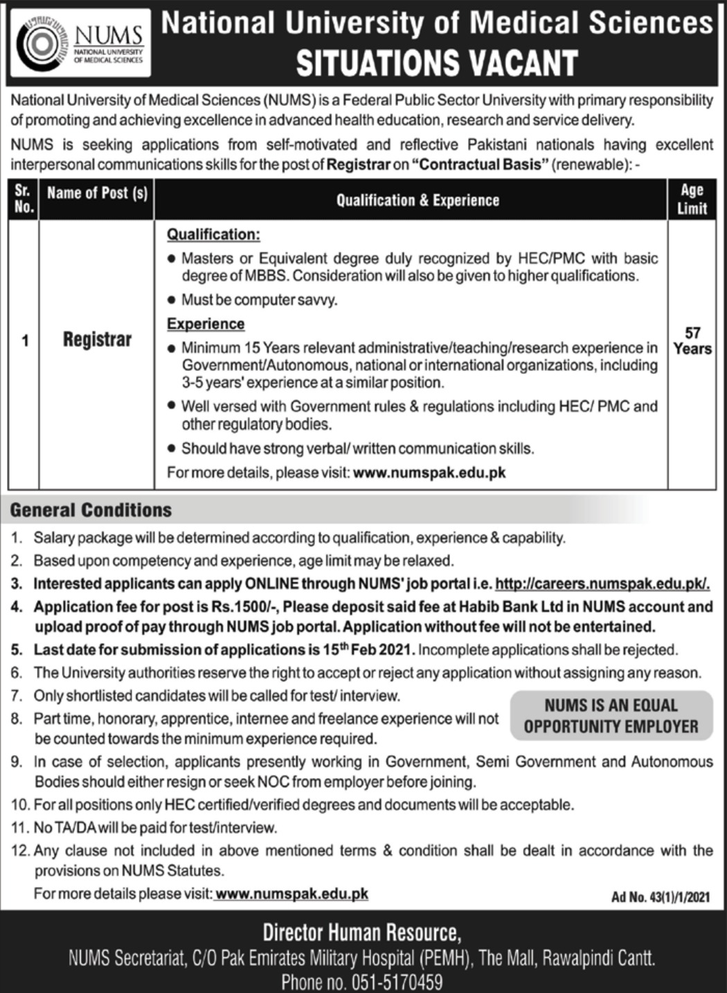 National University of Medical Sciences NUMS Jobs February 2021