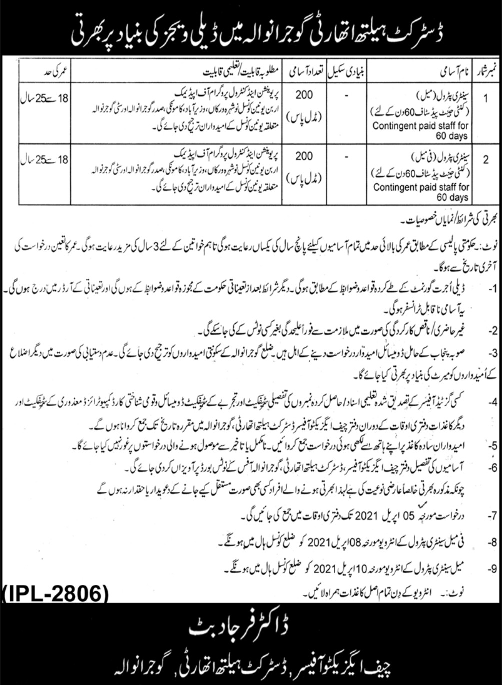 District Health Authority Gujranwala Jobs March 2021