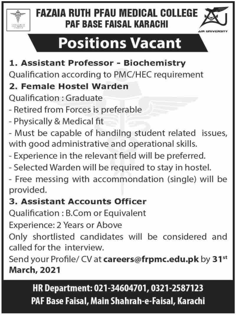 Fazaia Ruth Pfau Medical College PAF Base Faisal Karachi Jobs March 2021