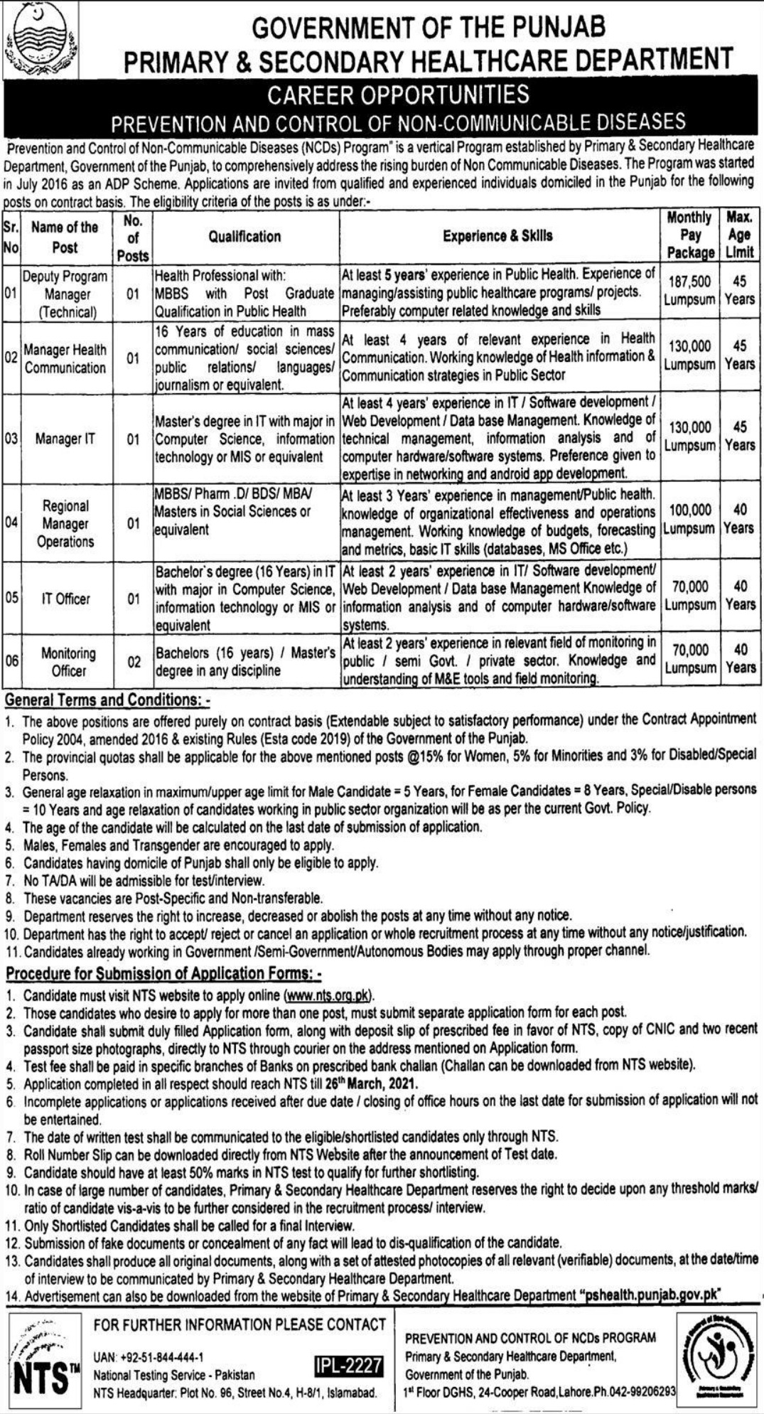 Primary & Secondary Healthcare Department Punjab Jobs March 2021