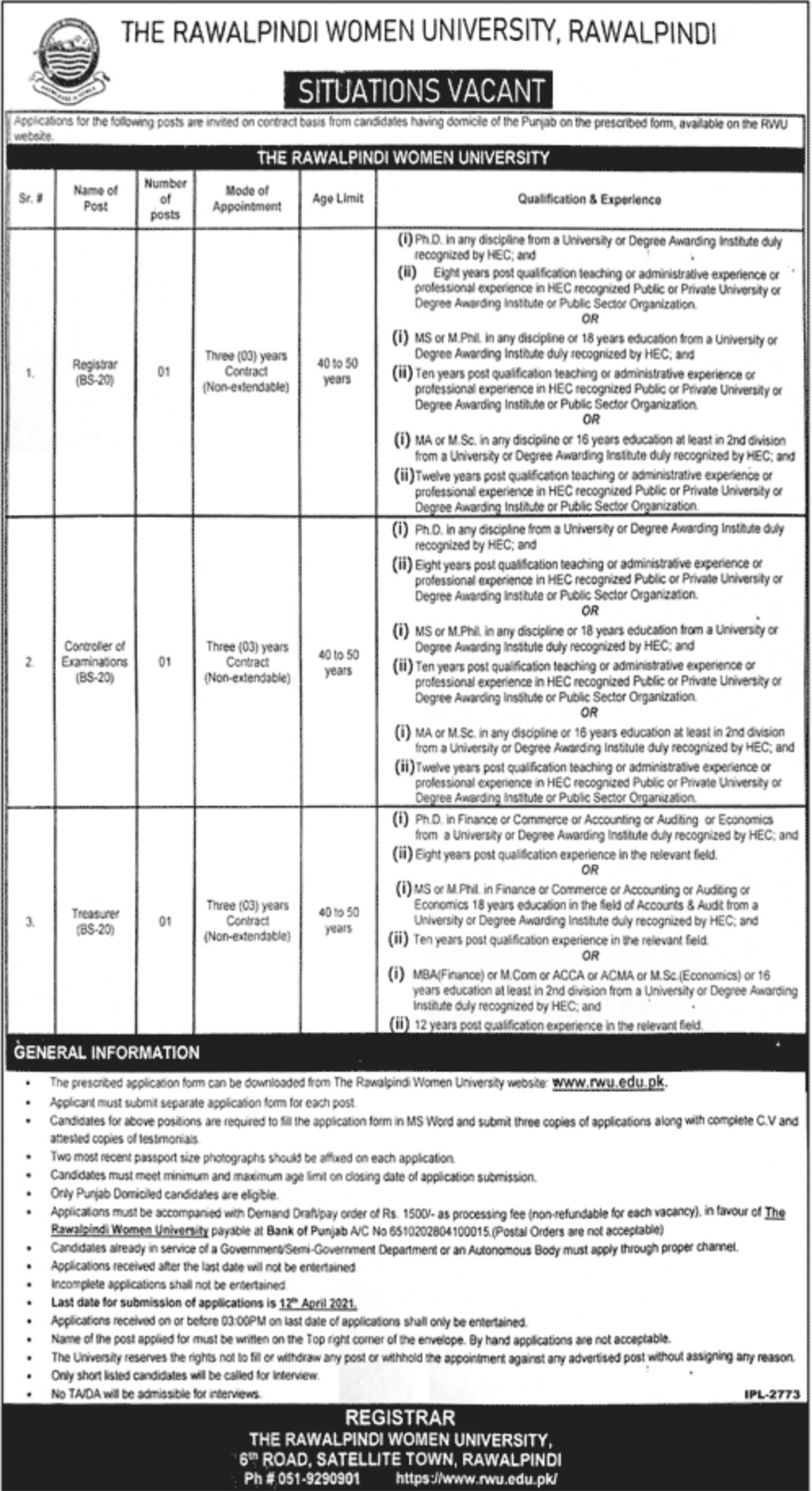 Rawalpindi Women University Jobs March 2021