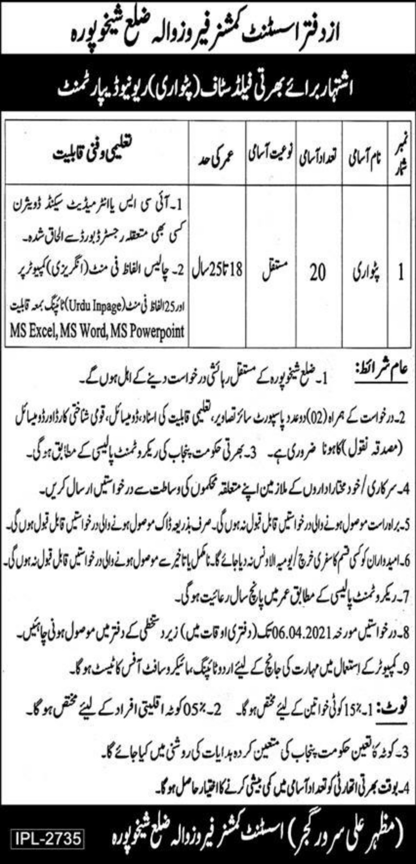 Revenue Department Punjab Patwari Jobs March 2021