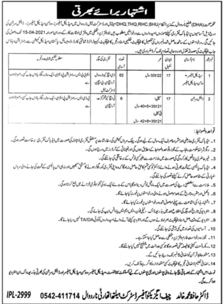 District Health Authority Narowal Jobs April 2021