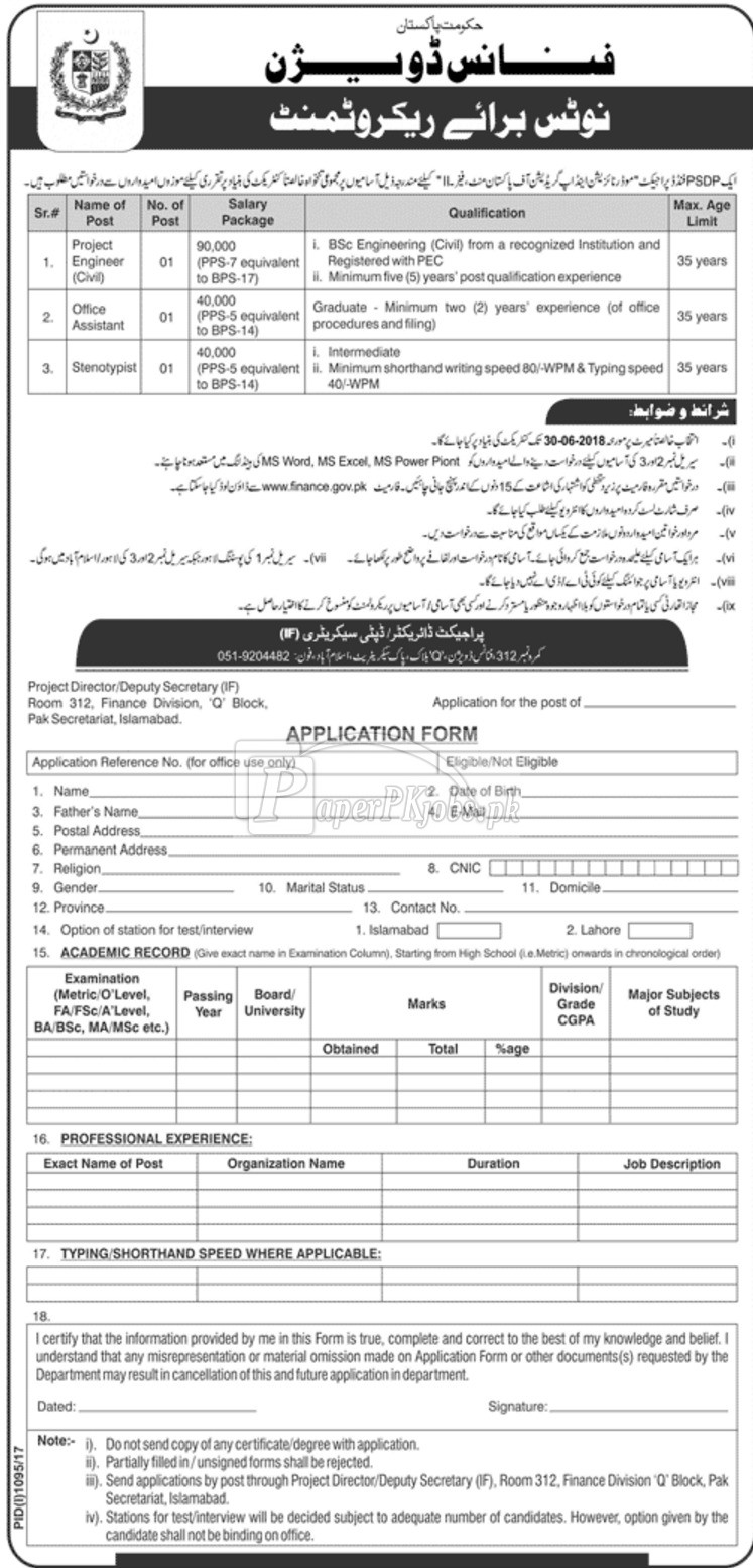 Finance Division Government of Pakistan Jobs 2017