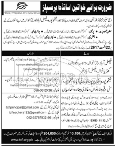 The Citizens Foundation TCF Jobs 2017