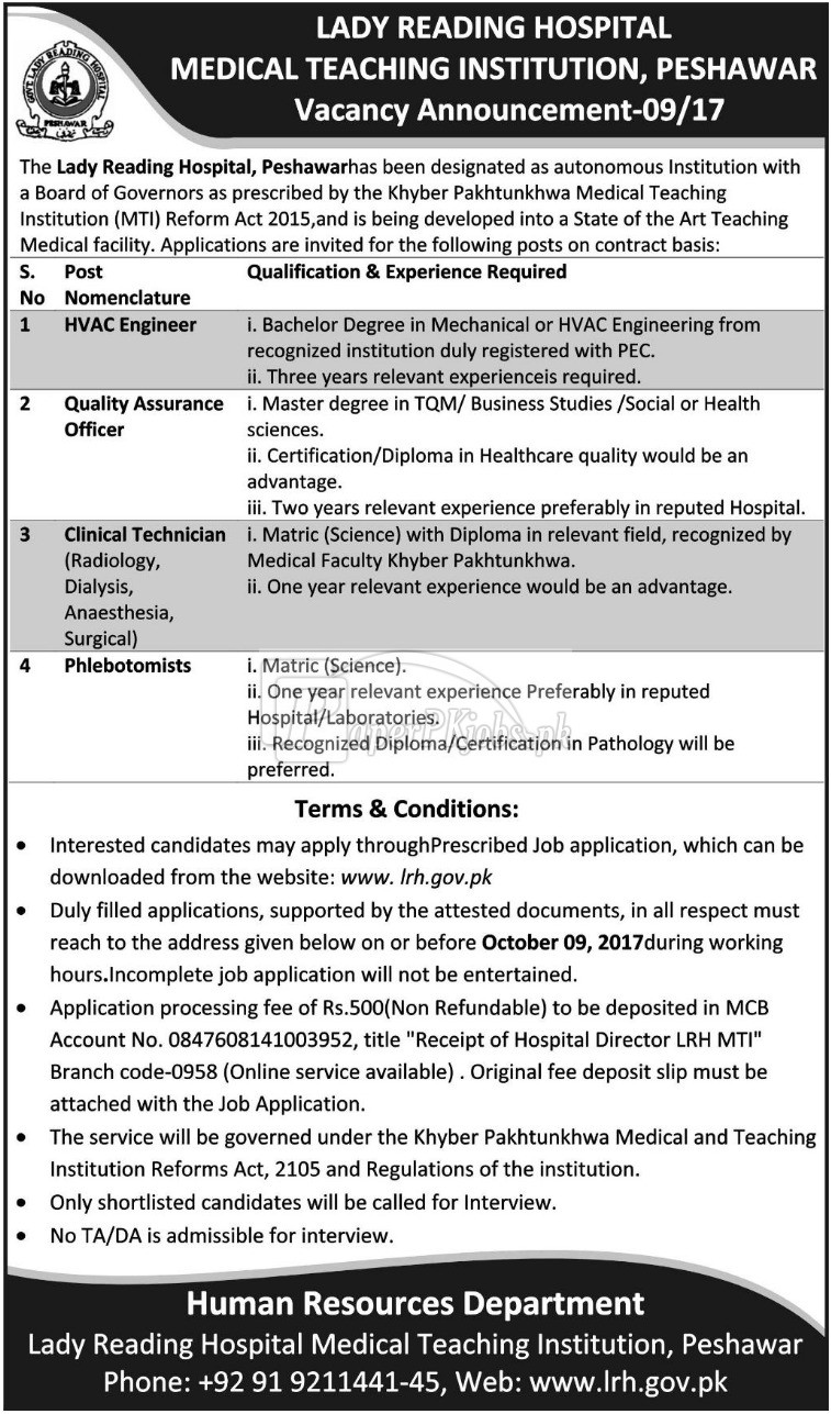 Lady Reading Hospital Medical Teaching Institution Peshawar Jobs 2017