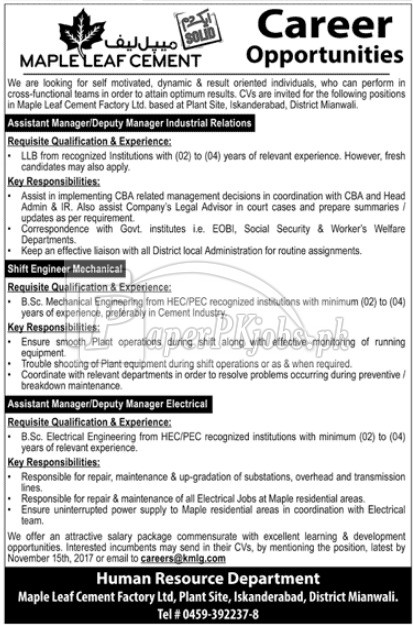 Maple Leaf Cement Factory Jobs 2017