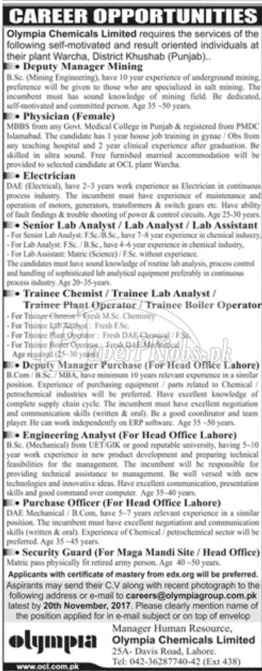 Olympia Chemicals Limited OCL Jobs 2017