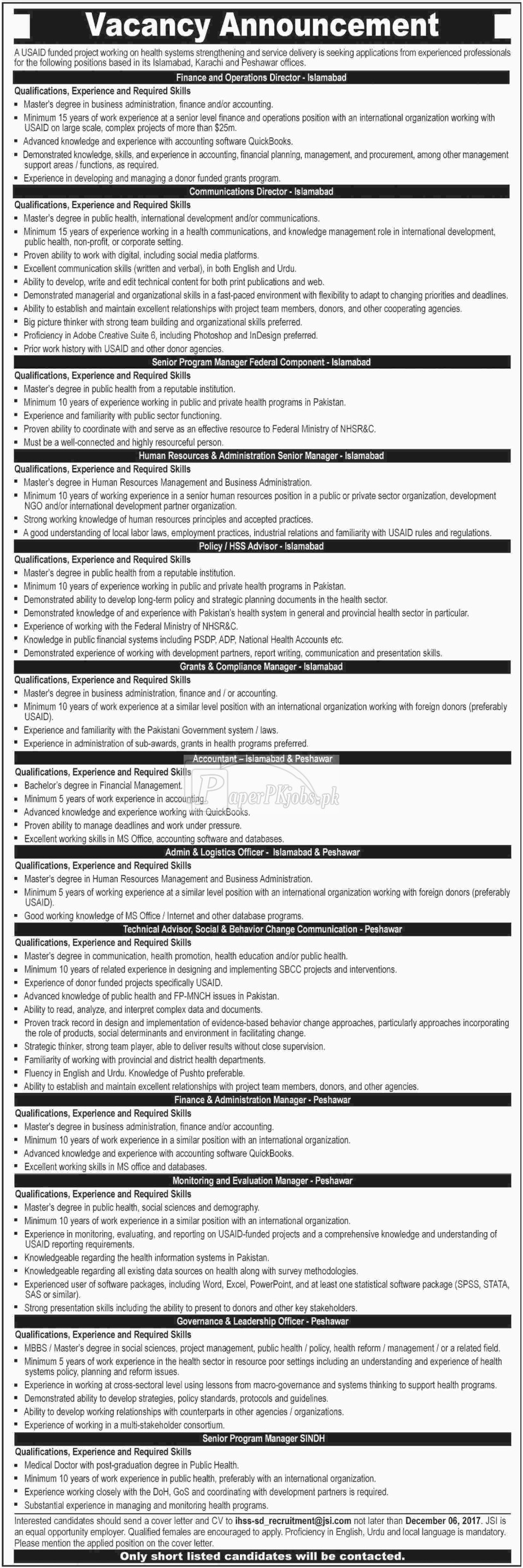 USAID Funded Project Jobs 2017