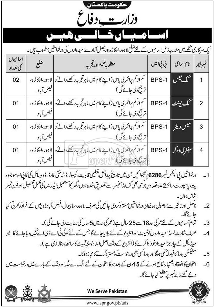 Ministry of Defence Government of Pakistan Jobs 2017