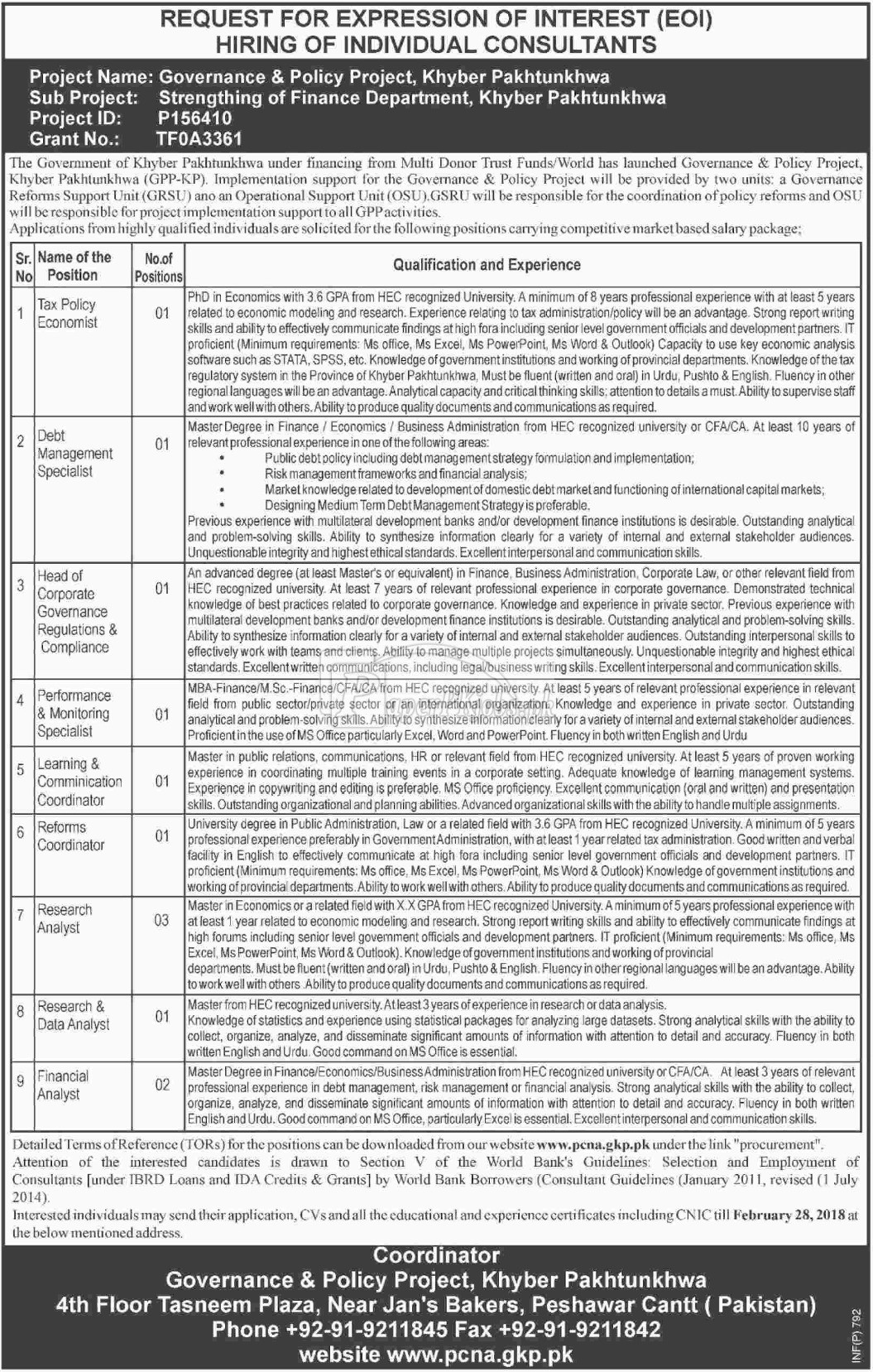Governance & Policy Project KPK Jobs 2018