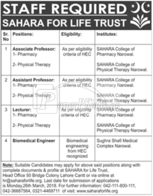 Sahara for Life Trust Jobs 2018