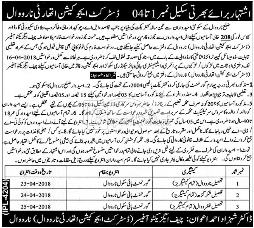 District Education Authority Narowal Jobs 2018