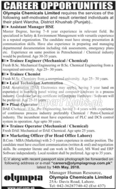 Olympia Chemicals Ltd Jobs 2018