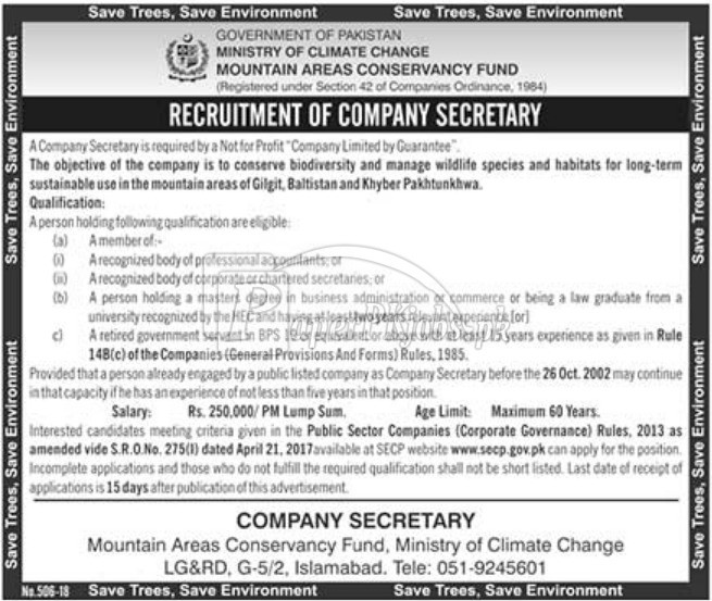 Ministry of Climate Change Jobs 2018