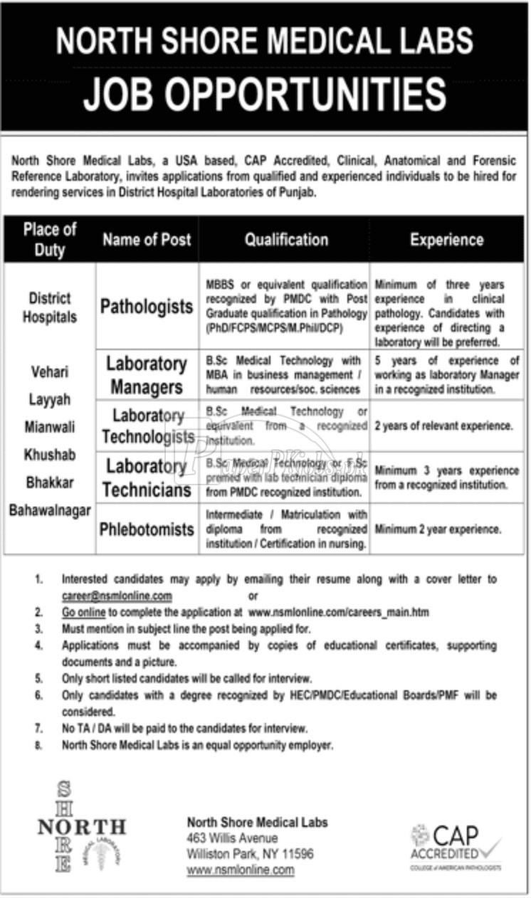 North Shore Medical Labs Jobs 2018
