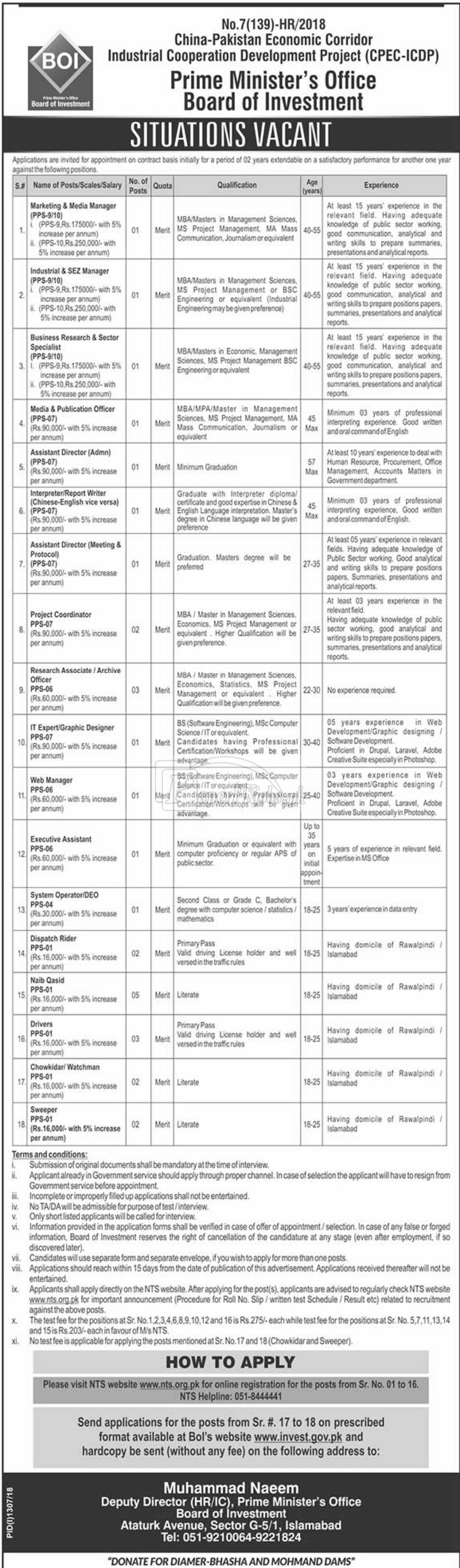 CPEC ICDP Board of Investment PM Office Jobs 2018