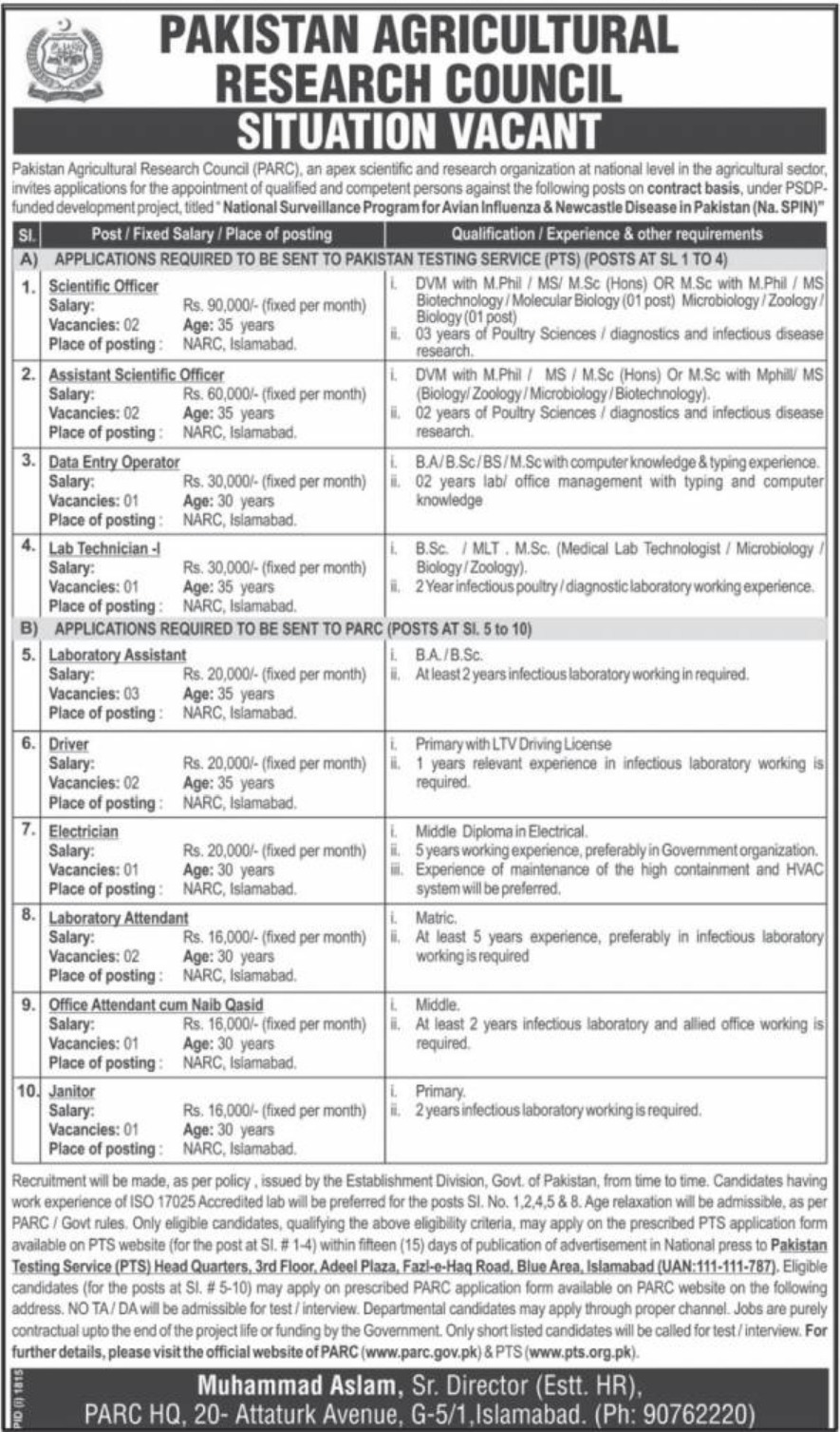 PARC Pakistan Agricultural Research Council Latest Jobs 21 October 2018