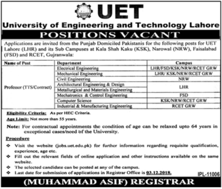 University of Engineering & Technology Lahore Jobs 2018