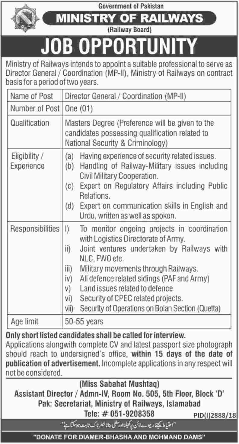 Ministry of Railways Jobs 2018 Government of Pakistan