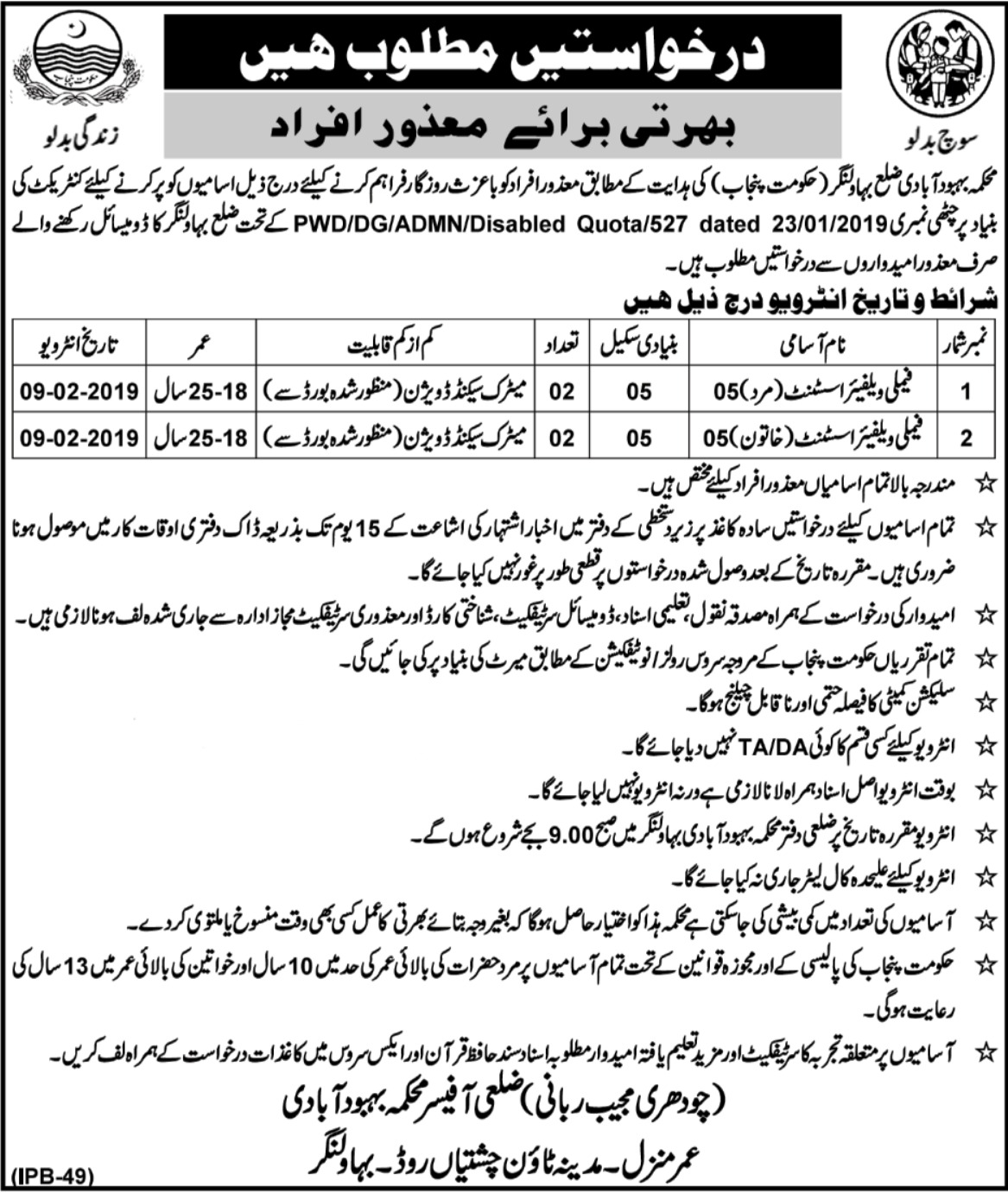 Population Welfare Department Bahawalnagar Jobs 2019 Punjab