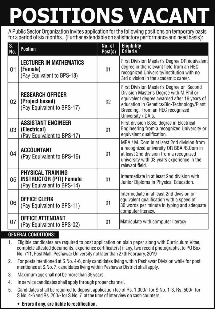 Public Sector Organization Jobs 2019 P.O.Box 711 Peshawar KPK Latest