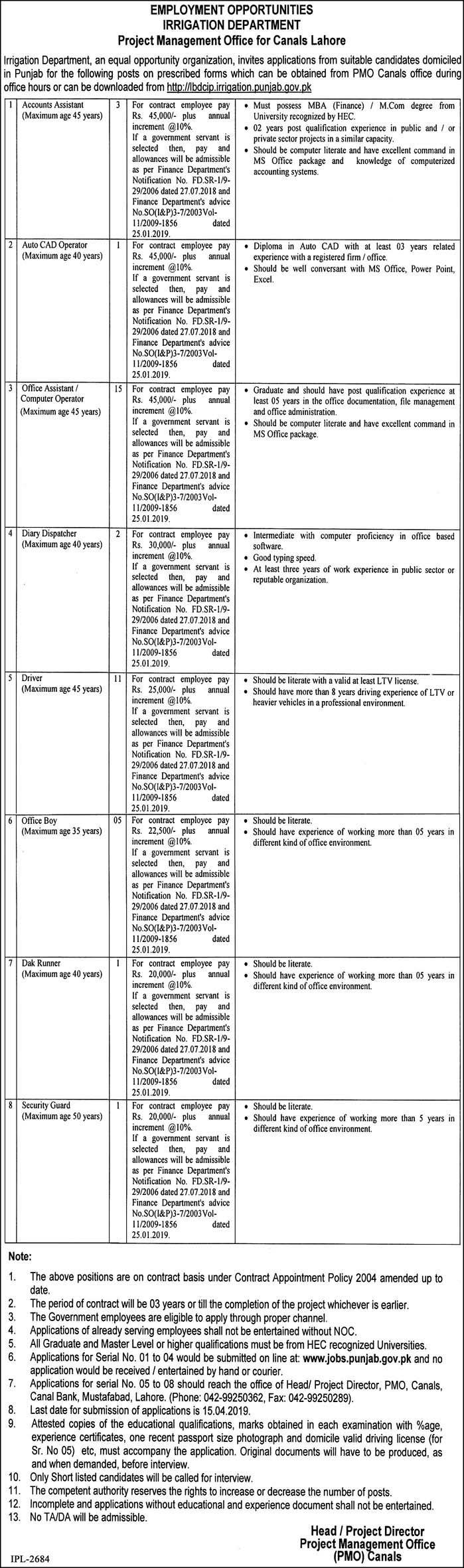 Irrigation Department Lahore Jobs 2019 Government of Punjab Latest